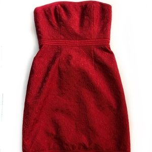 Badgley Mischka Red Strapless Cocktail Dress - 4